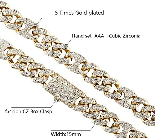 GOLD IDEA JEWELRY 15 MM Iced Out Hip Hop Cuban Link Chain 5 Times 14k Gold Plated/White Gold Plated Necklace/Bracelet for Men and Women (8.5-30 inches)