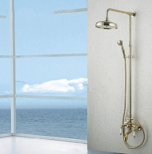 GOWE Contemporary Bathroom 8-in Shower Set Golden Polish Waterfall Spout Faucet Wall Mounted Tap 0