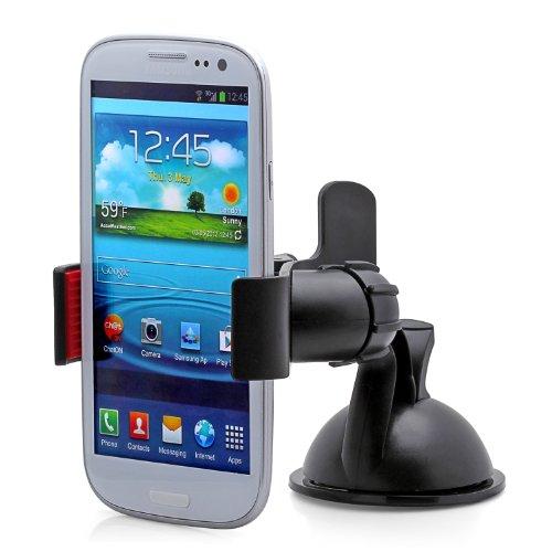 Aduro GRIP CLIP Universal Dashboard Windshield Car Mount for Smart Phones, Apple iPhone 5 / 5S / 5C / 4 / 4S / 3G, Samsung Galaxy S2 / S3 / S4, Galaxy NOTE 2, Motorola Droid RAZR / MAXX, HTC EVO 4G, HTC One X, LG Revolution, GPS Holder (Black) ()