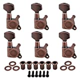 BQLZR 4x3.7cm Bronze Electric Guitar Full Closed Tuning Pegs Tuners Right Hand Machine Heads Guitar Accessories Parts Pack of 6