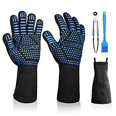 GEEKHOM Grill Gloves 1472? Heat Resistant BBQ Grilling Gloves EN407 Certified 13 Inch Oven Mitts 4-in-1 Barbecue Tools for Cooking Baking Outdoor Camping and Weber Char-Broil Cuisinart Smokers