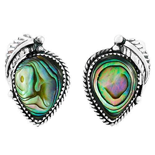 Abalone Earrings 925 Sterling Silver & Genuine Gemstones (Abalone Shell)