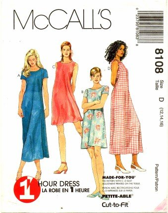 Pullover Dress Sewing Pattern (McCall's 8108 Sewing Pattern Misses Pullover Dress Size 12 -)
