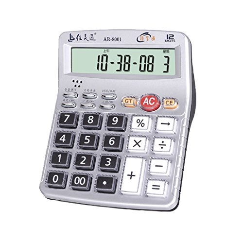 Music Function Desktop Electronic Multifunctional Speech Calculator, Portable 12-Digits LCD Display Calculator with Alarm Clock, Can Play The Piano (Chinese Mandarin, Silver) - Calculator Keyboard Piano