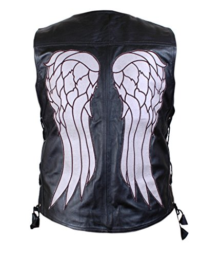 The Walking Dead Governor - Daryl Dixon Angel Wings Leather Vest Jacket - BNWT Black