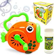 WhizBuilders Bubble Machine for Kids Fish Bubbles Blower Wands Toys for Toddlers with Big Bubble Solution Refi