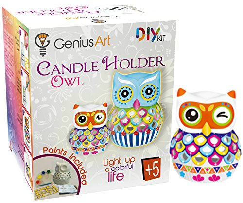 Genius Art Owl Candle Holder Painting - Arts and Crafts Kit for Kids and Adults - DIY Home Decor - Ready to Paint Ceramic for -