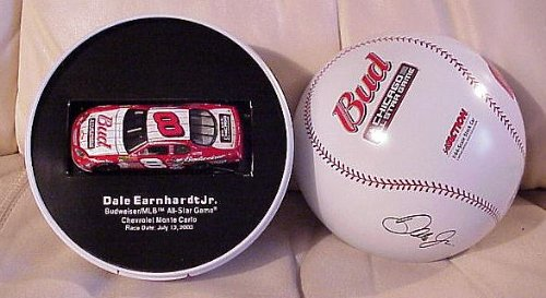(2003 Dale Earnhardt Jr. #8 Budweiser Chicago All-Star Game 1:64 Nascar Monte Carlo in a Baseball Tin by Action Limited Edition of 20,124)