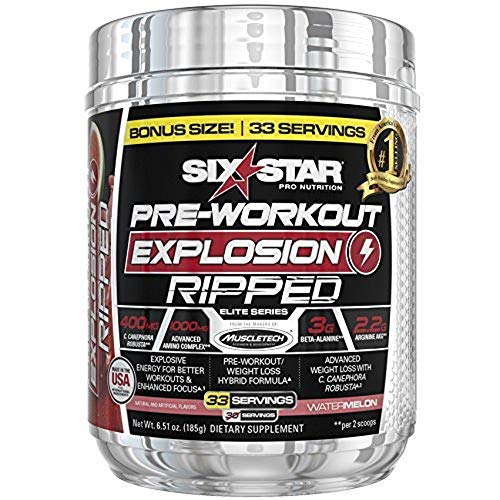 Six Star Explosion Pre Workout, Powerful Pre Workout Powder with Extreme Energy, Focus and Intensity , 30 Servings