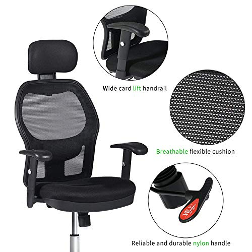 Winmi High Back Mesh Ergonomic Office Chair with Headrest and Armrest, 360 Degree Swivel Executive Computer Desk Task Chair,Back Lumbar Support, Black by Winmi (Image #2)