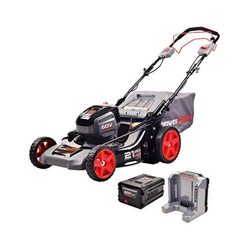 Powerworks MO60L512PW Mower, 60V 21″ Self-Propelled, Battery Included, Black, Grey, Red