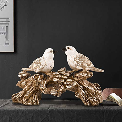 Couple Acacia Bird European Style Decoration Resin Crafts Arrangement Living Room Office TV Cabinet Home Culpture Opening Gift Entrance Process Soft Dress Furnishings Desktop ( Color : White Antique )
