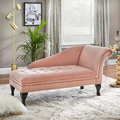 Storage Chaise Lounge Chair - Modern Living Room Lounger with Button-Tufting and Nailhead Trim (Pink)