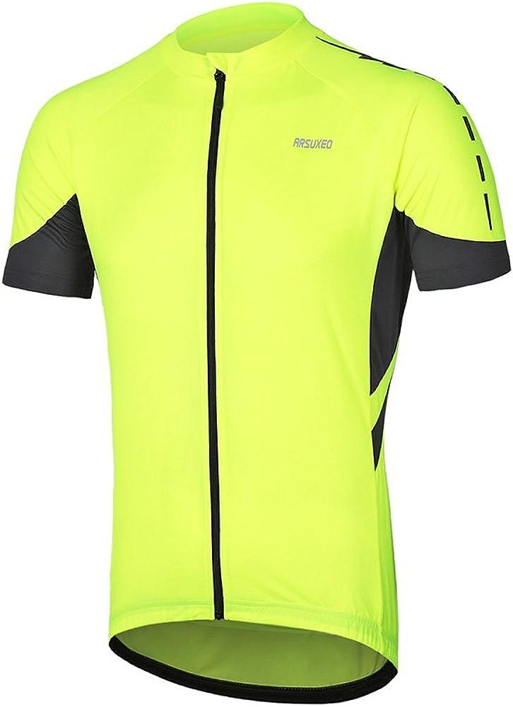 ARSUXEO Men's Short Sleeves Cycling Jersey Bicycle MTB Bike Shirt 636
