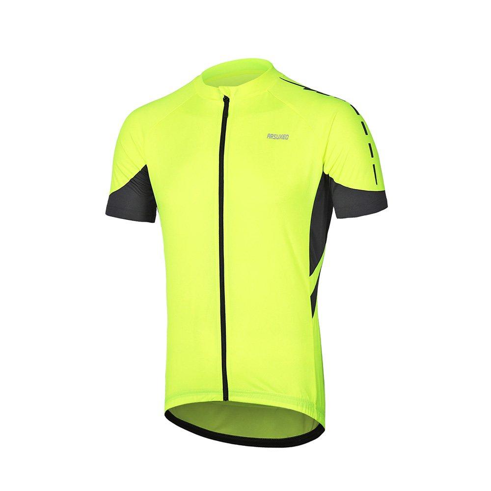 Arsuxeoメンズ半袖サイクリングジャージー自転車MTBバイクシャツ636 B07C7VKVFR US L|グリーン グリーン US L