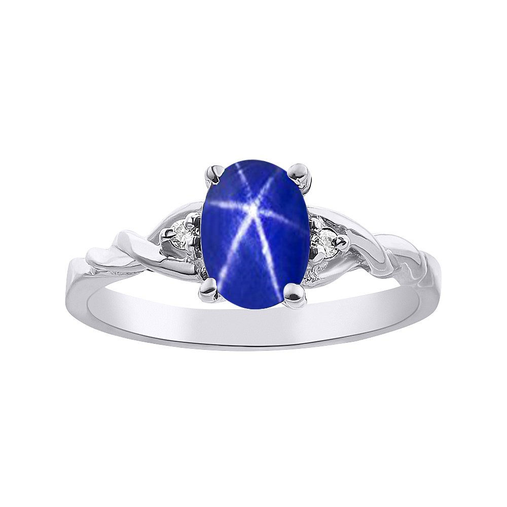 Diamond & Blue Star Sapphire Ring Set In Sterling Silver Solitaire