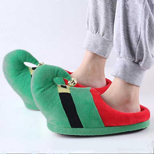 3D Funny Home Slippers Women Men Kids Christmas Costume Santa Elf Bell Velvet Winter Warm Family Shoes Red hn3CiEk