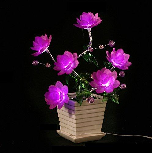 Elfe Decor LED Flower Tree Light, Elegant 6 Head Imitated Crystal Bonsai Light with Vase, USB Romantic Flower Night LightBirthday Gift Valentine's Day/Wedding/Near Year's Gift