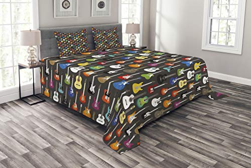 Ambesonne Guitar Bedspread Set King Size, Grunge Instruments Strings Creativity Writing Songs Digital Classic Acoustic Music, 3 Piece Decorative Quilted Coverlet with 2 Pillow Shams, Multicolor