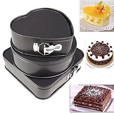 3 pcs/set Non-stick Springform Cake Pan Metal Baking Cake Mold with Removable Bottom Round Heart Square Shapes Bakeware Pan Baking Tray Dessert Chocolate Making Baking Tool