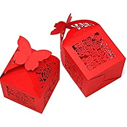 KAZIPA 50pcs Laser Cut Wedding Gift Boxes, 2.2''x2.2''x2.2'' Butterfly Favor Boxes, Wedding Candy Boxes for Wedding Favors Bridal Shower Decoration Birthday Party Favors Baby Shower(Red)