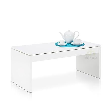 Amazon.de: due-home Couchtisch weiß glänzend mit Tablett Klappsitz