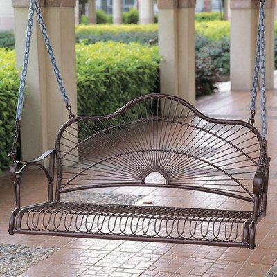 "Outdoor Snowberry Porch Swing with a 4 foot Hanging Chain Made w/ Premium Wrought Iron 350 Pounds Weight Capacity in Brown Finish 24"" H x 43"" W x 20.5"" D"