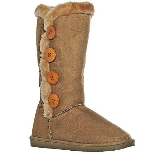 AMYshoes Tina/02 Plain Color Four Button Fur Lined Mid-Calf Snow Boots (7, Chestnut) ()
