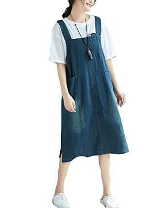 ad93de43854 Women Elegant Loose Casual Pinafore Jumpsuit Dungaree Midi Dress with Pockets  Loose Denim Playsuit Jean Dress  Amazon.co.uk  Clothing