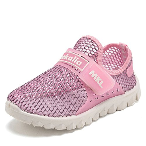 WALUCAN Boy and Girl's Aqua Slip-on Shoes Breathable Slip-on Sneakers For Running Pool Beach Toddler(Toddler/Little Kid/Big Kid)-2.Pink-38