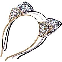 AWAYTR 3PC - Crystal Cat Ears Hair Hoop Headband for Women Girls Cats Ears Hairband Headwear Hair Accessories (Floral)