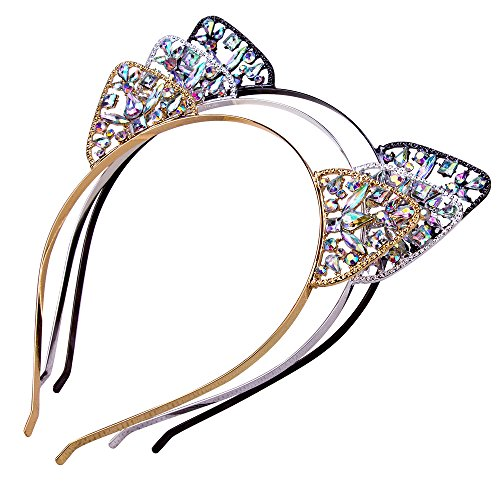 AWAYTR 3PC - Crystal Cat Ears Hair Hoop Headband for Women Girls Cats Ears Hairband Headwear Hair Accessories (Floral) - Sitting Pretty Cat