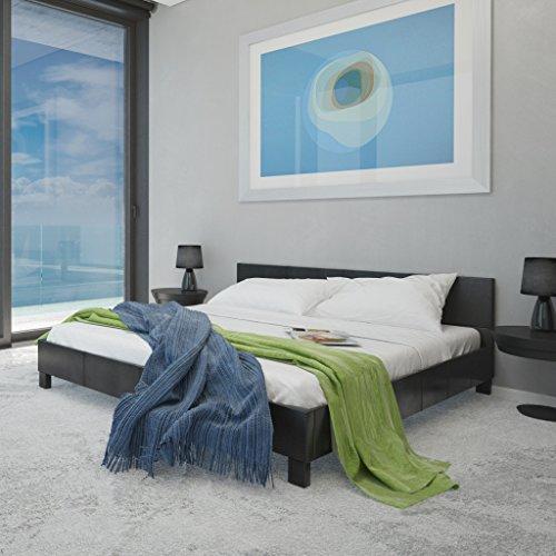 vidaXL Kunstleder-Bett schwarz 140 x 200 cm mit Matratze