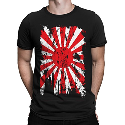 SpiritForged Apparel Distressed Japan Rising Sun Flag Men's T-Shirt, Black XL