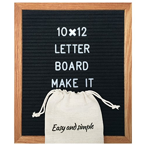 Black Felt Letter Board 10x12 inch/Best Changeable feltboard with 340 Letters Numbers & Symbols/Includes Stand Oak Wood Frame Bag and Wall Mount by Easy and Simple