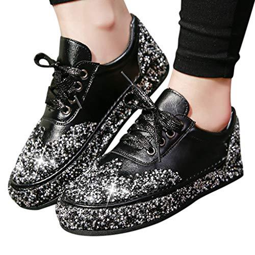 Women Walking Sneakers Crystal Rhinestone Platform Fashion Flat Casual Shoes (US:6.0, Black)