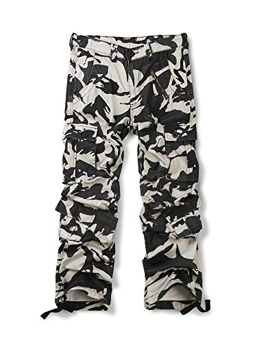 (OCHENTA Men's Cotton Military Cargo Pants, 8 Pockets Casual Work Combat Trousers #3357 Camo White 42)