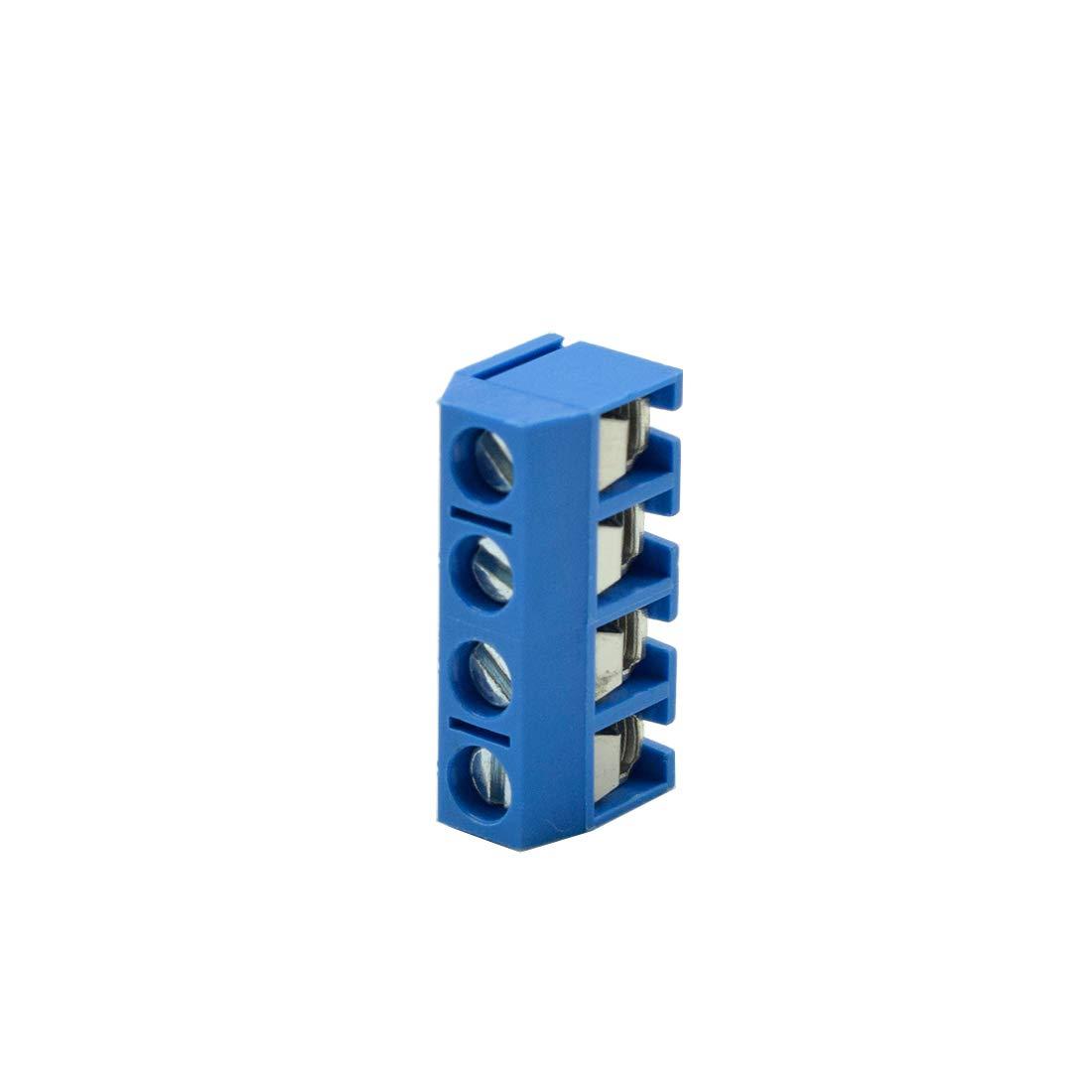 TUOREN 4Pin 5.08mm PCB Mount Screw Terminal Block Connector,Blue 300V 16A 10pcs