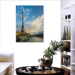 Eiffel Tower Print Paintings Home Wall Office Decor Sunset Over Eiffel Tower Seine River Paris France Nature Scene Art-Canvas Prints 24x36 Yellow Green Blue