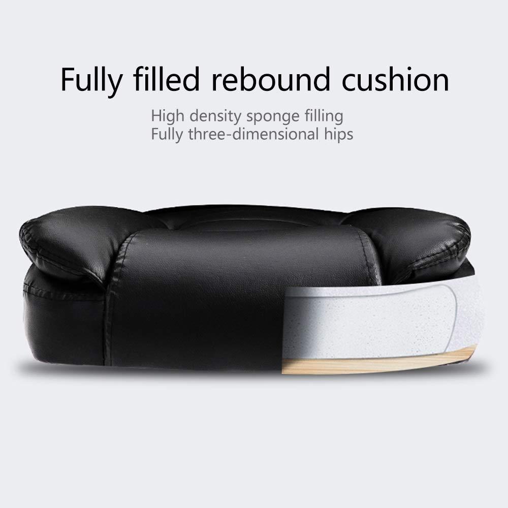 JIEER-C stol dator stol dator skrivbord stol rosett fot ergonomisk kontorsstol dubbelsits kudde design hög rygg PU-läder spelskrivbordsstol för kontor student sovsal, vit Brun