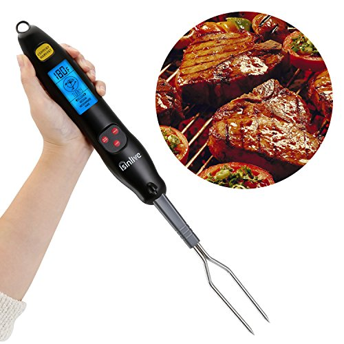 Bbq Fork Thermometer (Isinlive Digital Meat Thermometer Fork Instant Read Barbecue Thermometer for Kitchen BBQ Grilling)