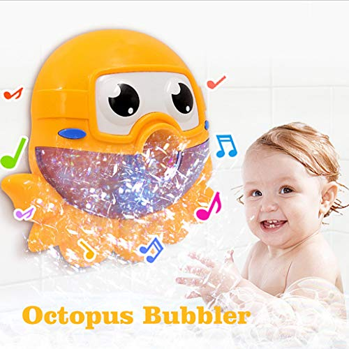 Binory Automatic Big Octopus Bubble Machine with 12 Nursery Rhyme for Summer Bath Toys,Creative Bubble Maker Bathtub Toys for Toddlers Baby,Enjoy Outdoor & Indoor Happy Tub Time,Birthday Gift(Yellow) ()