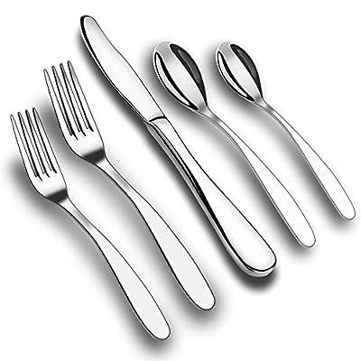 AOFU Flatware Set, 5 Piece Stainless Steel Dinnerware, Fork Knife Spoon Cutlery Set