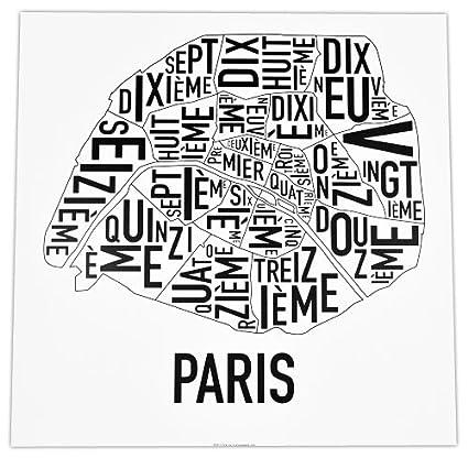 Paris Map Black And White.Amazon Com Ork Posters Paris Arrondissements Map Black White 18
