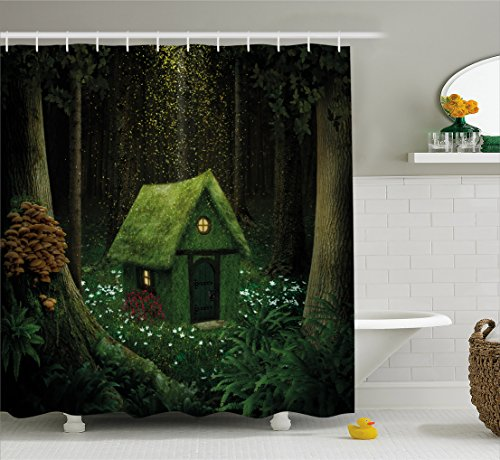 Ambesonne Fantasy Shower Curtain, Surreal Little Forest House in Moss Enchanted Woodland with Elves Design, Fabric Bathroom Decor Set with Hooks, 70 Inches, Army and Hunter Green ()