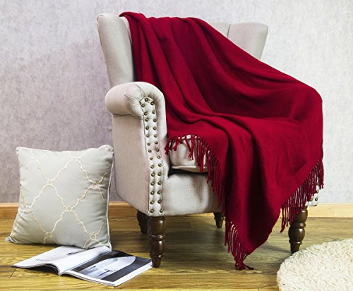 HollyHOME Oversized Throw Blanket 50x60 Inches Nap Casual Decor Warm Soft Microfiber All Season Blanket with Tassels, Burgundy Red