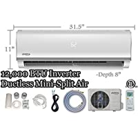 12,000 BTU Innova Ductless Mini-split Air Conditioner – Inverter SEER 16 – Cooling & Heating – Dehumidifier – 115v/60hz - Pre Charged Condenser - Ultra Quiet - 16 Feet Line Set + Accessories