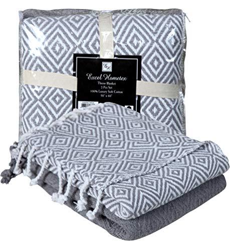 Excel Hometex 100% Cotton Handloom Diamond Throw Blankets (50 x 60 Inch Set of 2)- Luxurious Cotton Throw Blanket-Indoor - Outdoor Throw Blanket- (Blue, 50