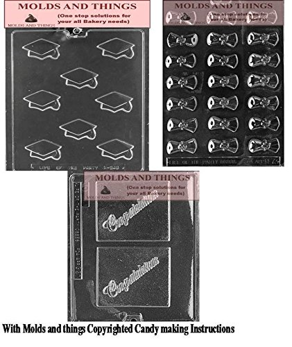 Amazon.com: Graduation Chocolate Candy Mold & Congratulation Grad Chocolate Candy Mold with Copyrighted Candy Making Instruction: Home & Kitchen