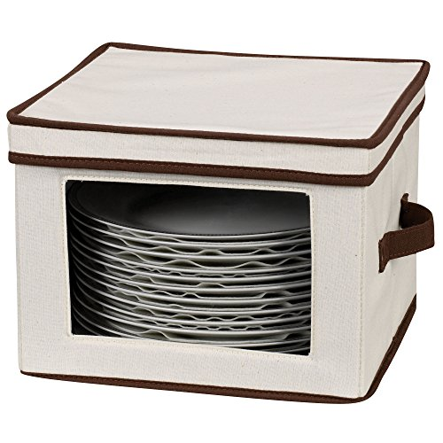 Household Essentials Dinner Plate Storage Box with Lid and Handles, Natural Canvas with Brown Trim